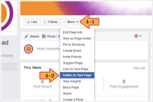 How to unlike a Facebook business page as your business