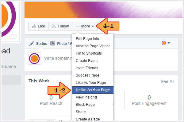 "Under ""More"" option, click ""Unlike as Your Page"""