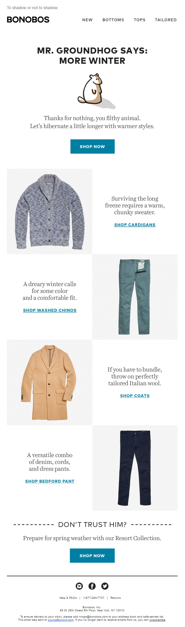 Email from Bonobos on Groundhog Day